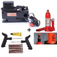 Combo of Car Tyre Inflator + Hydraulic 2.0 Ton Jack + Tubeless Tyre Puncture Repair Kit