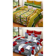 Set of 2 IWS Cotton Printed Double Bedsheet with 4 Pillow Covers-CB1325