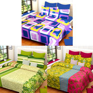 Set of 3 IWS Cotton Printed Double Bedsheet with 6 Pillow Covers-CB1385