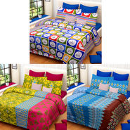 Set of 3 IWS Cotton Printed Double Bedsheet with 6 Pillow Covers-CB1395