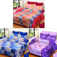 Set of 3 IWS Cotton Printed Double Bedsheet with 6 Pillow Covers-CB1406