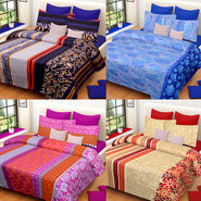 Set of 4 IWS Cotton Printed Double Bedsheet with 8 Pillow Covers-CB1451