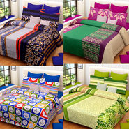 Set of 4 IWS Cotton Printed Double Bedsheet with 8 Pillow Covers-CB1461