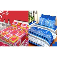 IWS Set of 2 100% Cotton Double Bedsheet with 4 Pillow Cover-IWS-CB-625