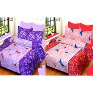 IWS Set of 2 100% Cotton Double Bedsheet with 4 Pillow Cover-IWS-CB-655