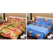 IWS Set of 2 Designer Cotton kids Double Bedsheet with 4 Pillow cover IWS-CCB-30