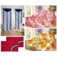 10 Piece Home Decor Combo (IWS 2 Bedsheet with 4 Pillow Covers + 2 Door Curtains + 2 Mats) -IWS-JC-13
