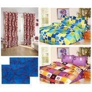 10 Piece Home Decor Combo (IWS 2 Bedsheet with 4 Pillow Covers + 2 Door Curtains + 2 Mats) -IWS-JC-22