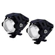 AutoSun U5 LED Super Power Spot Beam Light Fog Lamp 2 Pair Black for Royal enfield