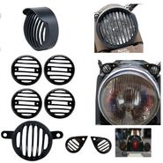 AutoSun Head light Heavy Grill With Cap & Indicator, Eyes Grill Light Grill For Royal Enfield Bullet 500 Twinspark and Royal Enfield Bullet Classic 350