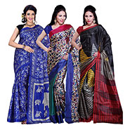 Pack Of 3 Ishin Printed Art Silk Saree - 12413179