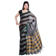 Ishin Cotton Saree - Black & Grey-SNGM-837
