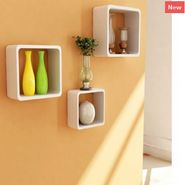 Pack of 3 Cube Shaped Wooden Storage Shelves