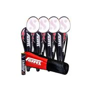 Silver's Pack Of 4 Kinetic Badminton Racquets With 3/4 Covers + Pack Of 10 Marvel Shuttlecock + 1 Kitbag