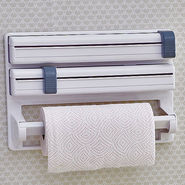 New Tri Wrap - Arrange Cling Film, Kitchen Foil, Paper Roll Easily - White