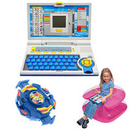 Combo of Kids 20 Activity English Learning Laptop + 1 Kids Inflatable Chair + Beyblade