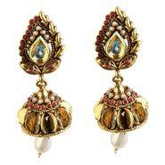 Kriaa Antique Gold Jhumki Style Drop Earrings - Golden _ 1301813