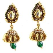 Kriaa Austrian Stone Kundan Jhumki Drop Earrings - Purple & Green _ 1301910
