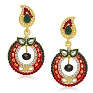 Kriaa Austrian Stone Gold Plated Earrings  - Green & Red _ 1304618