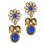 Kriaa Antique Pearl Gold Finish Earrings  - Blue _ 1304911