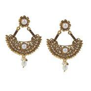 Kriaa Austrian Stone Pearl Gold Earrings - Golden _ 1304913
