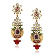 Kriaa Antique Gold Finish Kundan Earrings - Red & Green _ 1305510