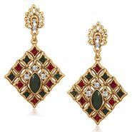 Kriaa Antique Gold Finish Kundan Earrings - Red & Green _ 1305520