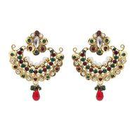 Kriaa Austrian Diamond Pearl Earrings - Red & Green _ 1300213