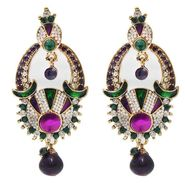 Kriaa Austrian Stone Drop Earrings - Purple & Green _ 1300321