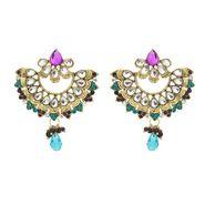 Kriaa Kundan Pearl Drop Earrings - Blue & Purple _ 1300325