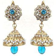Kriaa Austrian Stone Jhumki Earrings - Blue _ 1300720