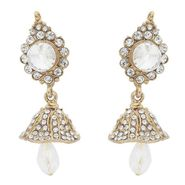 Kriaa Kundan Austrian Stone Jhumki Earrings - White _ 1300810