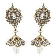 kriaa Austrian Stone Jhumki Earrings - White _ 1300834