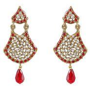 Kriaa Austrian Stone Drop Earrings - Red _ 1300901
