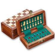 Liana Premium Magnetic 5 Inch Rectangle Chess Board - Brown