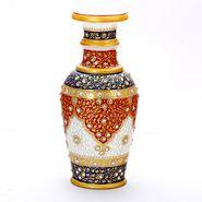 Handpainted Red & Blue Decorative Marble Vase-MAR15349