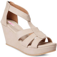 Meriggiare Artificial Leather Beige Wedges -Mgfk5506E