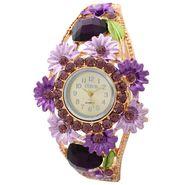Branded Round Dial Bracelet Diamond Wrist Watch_Mgw02 - White