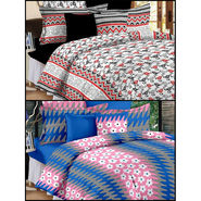 Set of 2 Double Bedsheet with 4 Pillow Covers-MO-129_132