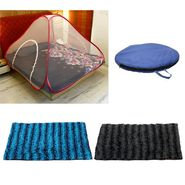 Storyathome Double Bed foldable Mosquito Net With 2 Pc Door Mats -MOS_101-EC_1428-1429_Z