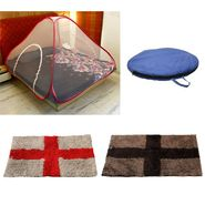 Storyathome Double Bed foldable Mosquito Net With 2 Pc Door Mats -MOS_101-EC_1430-1431_Z