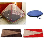 Storyathome Double Bed foldable Mosquito Net With 2 Pc Door Mats -MOS_101-EC_1434-1435_Z