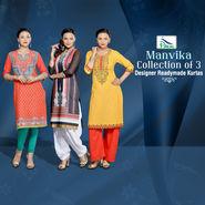 Manvika Collection of 3 Designer Readymade Kurtas by Pakhi