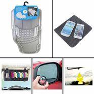 Combo of Car Mat Transparent, DVD Holder, Freshner, Blind Spot Mirror and Non-Slip Dash