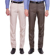 Tiger Grid Pack Of 2 Cotton Formal Trouser For Men_Md026