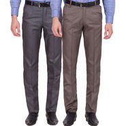 Tiger Grid Pack Of 2 Cotton Formal Trouser For Men_Md027