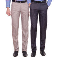 Tiger Grid Pack Of 2 Cotton Formal Trouser For Men_Md035