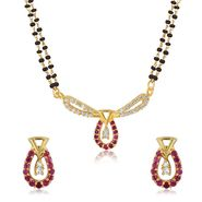 Mahi CZ & Ruby Gold Plated Mangalsutra Set_Nl1103516g2