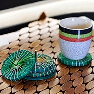 Set of 4 ExclusiveLane Newspaper Coiled Coasters - Green