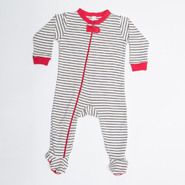 Nino Bambino Striped Full Sleeves Side Zipper Romper - White & Black
